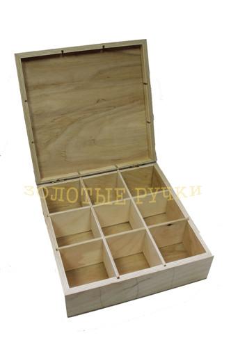 Заготовка для декупажа, декора.  Коробка под Чай с 9-ю отделениями, крышка без стекла.  Материал сосна.